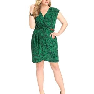Michael Kors Plus Faux Wrap Green Paisley Dress